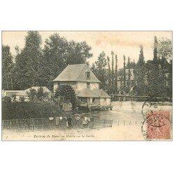 carte postale ancienne 72 Environs du Mans. Moulin à Roue sur la Sarthe 1905