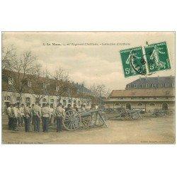 carte postale ancienne 72 LE MANS. 26° Régiment Artillerie. Instruction des canons 1908