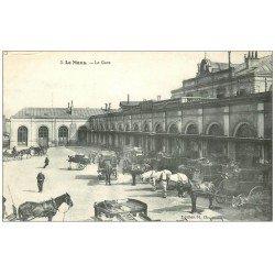 carte postale ancienne 72 LE MANS. Attelages diligences à la Gare