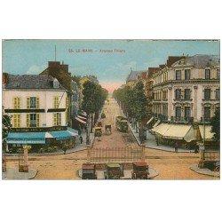 carte postale ancienne 72 LE MANS. Avenue Thiers au Roi du Café