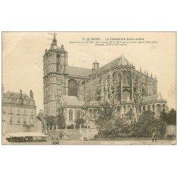 carte postale ancienne 72 LE MANS. Cathédrale Saint-Julien et Café Martinier 1931