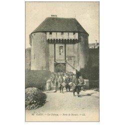 carte postale ancienne 14 CAEN. Fanfare Militaire à la Porte de Secours du Château