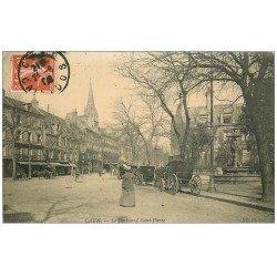 carte postale ancienne 14 CAEN. Fiacres Boulevard Saint-Pierre 1909
