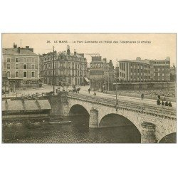 72 LE MANS. Pont Gambetta Hôtel des Téléphones. Panneau BYRRH 1937 et vieille Pompe à Essence manuelle Castrol