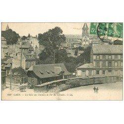 carte postale ancienne 14 CAEN. Gare des Chemins de Fer du Calvados