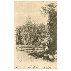 carte postale ancienne 72 SAINT-LEONARD-DES-BOIS. Enfants bord de la Sarthe vers 1900