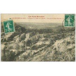 carte postale ancienne 72 SAINT-LEONARD-DES-BOIS. Le Haut-Fourché Pont et Vallée 1911