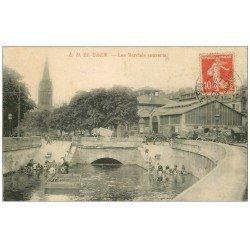 carte postale ancienne 14 CAEN. Les Marchés couverts avec Lavandières 1908