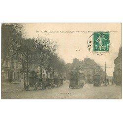 carte postale ancienne 14 CAEN. Place des Petites-Boucheries et Rue Saint-Martin 1913. Fiacres et Tramways