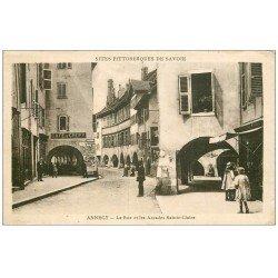 carte postale ancienne 74 ANNECY. Café de Crépy rue Sainte-Claire