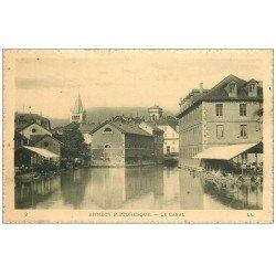 carte postale ancienne 74 ANNECY. Le Canal et Lavoir