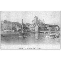 carte postale ancienne 74 ANNECY. Le Port et Château Fort