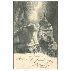 carte postale ancienne 74 ANNECY. Personnage aux Gorges du Fier 1901