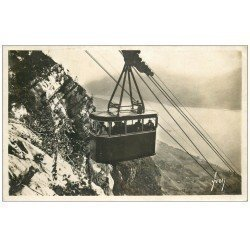 carte postale ancienne 74 ANNECY. Téléphérique de Veyrier du Lac 1937. Carte Photo