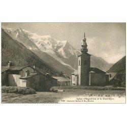 carte postale ancienne 74 ARGENTIERE. Mont Blanc et Eglise