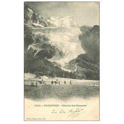 carte postale ancienne 74 CHAMONIX. Ballades à Cheval Glacier des Bossons vers 1903