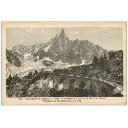 carte postale ancienne 74 CHAMONIX. Chemin de Fer Mer de Glace. Hôtel Montenvers et Dru