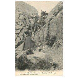 carte postale ancienne 74 CHAMONIX. Cheminée du Brévent. Alpinisme et Ascension