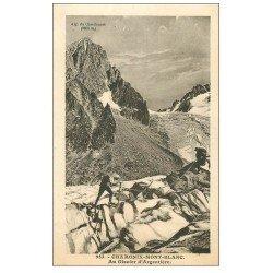 carte postale ancienne 74 CHAMONIX. Glacier Argentière. Alpinisme et Ascension
