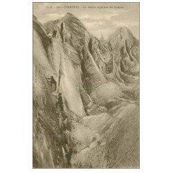 carte postale ancienne 74 CHAMONIX. Glacier des Bossons. Alpinistes