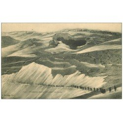 carte postale ancienne 74 CHASSEURS ALPINS. Traversant in Glacier