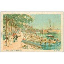 carte postale ancienne 74 EVIAN-LES-BAINS. Les Embarcadères 1908. Collection Cachat