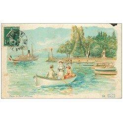 carte postale ancienne 74 EVIAN-LES-BAINS. Port ballade en barque 1908. Collection Cachat