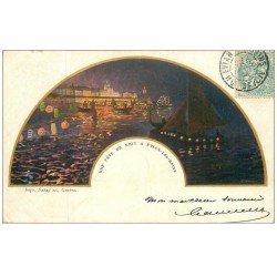 carte postale ancienne 74 EVIAN-LES-BAINS. Une Fête de Nuit 1904