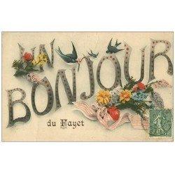 carte postale ancienne 74 LE FAYET. Un Bonjour 1918 Fleurs et Hirondelles