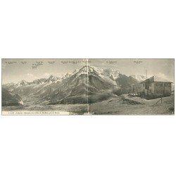 carte postale ancienne 74 SAINT-GERVAIS-LES-BAINS. Carte Panoramique Chaîne du Mont-Blanc 1913