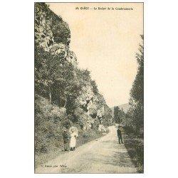 carte postale ancienne 14 CLECY. Animation au Rocher de la Cambronnerie 1925