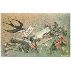carte postale ancienne 14 CLECY. Multivues et Hirondelle 1908