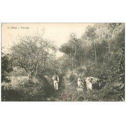 carte postale ancienne 14 CLECY. Promeneur et Paysages