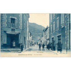carte postale ancienne 26 CHATILLON-EN-DIOIS. Rue des Reclus. Café des Deux Mondes et Impots