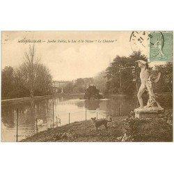 carte postale ancienne 26 MONTELIMAR. Statue le Chasseur au Jardin et le Lac 1924. Chien et Cygnes