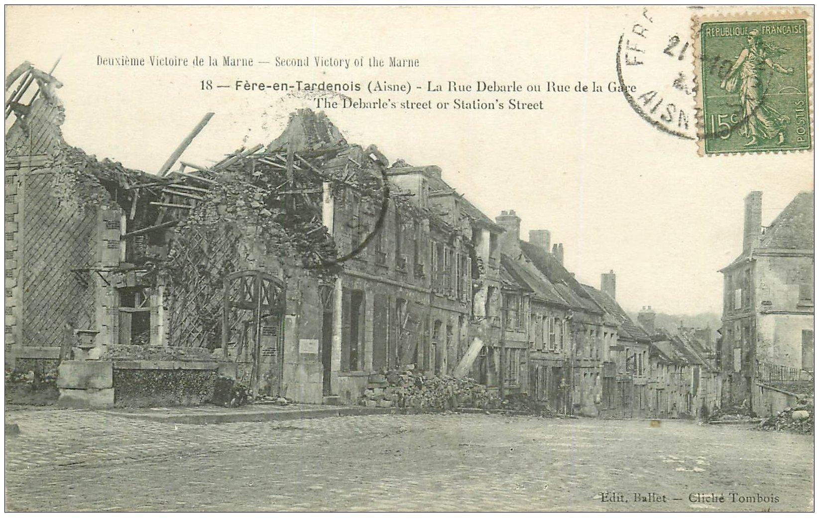 carte postale ancienne 02 FERE-EN-TARDENOIS. Rue Debarle ou Rue de la Gare 1923