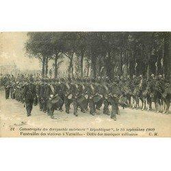 carte postale ancienne 78 VERSAILLES. Catastrophe du Dirigeable République. Funérailles 1909 défilé musiques militaires