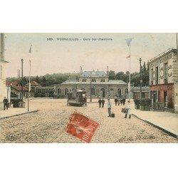 carte postale ancienne 78 VERSAILLES. Gare des Chantiers 1913 Hôtel de la Cloche des Chemins de Fer