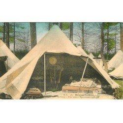 carte postale ancienne 78 MAISONS-LAFFITTE. Agencement d'une tente au Camp. Publicité Rue Ganneron à Paris XVIII°