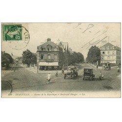 carte postale ancienne 14 DEAUVILLE. Alliance Française avenue République boulevard Mauger 1917. Café Bellevue
