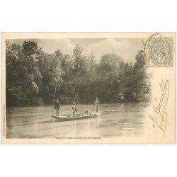 carte postale ancienne 02 GUIGNICOURT. 1903 Traversée de l'Aisne en barge