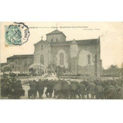 carte postale ancienne 79 COURLAY. Eglise, Bénédiction d'une Procession 1904