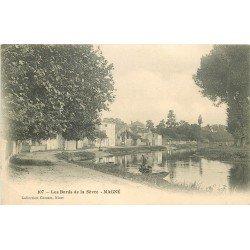 carte postale ancienne 79 MAGNE. Embarcation bords de la Sèvre vers 1900