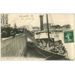 carte postale ancienne 14 HONFLEUR. 1907 Arrivée du Bateau du Havre