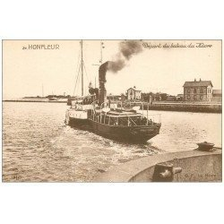carte postale ancienne 14 HONFLEUR. Départ du Bateau du Havre