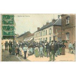 carte postale ancienne 02 GUISE. Ouvriers à la Sortie de l'Usine 1911