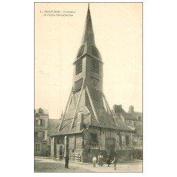 carte postale ancienne 14 HONFLEUR. Eglise Sainte-Catherine 1909 Clocher