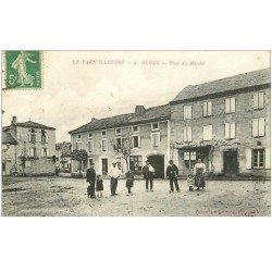 carte postale ancienne 81 ALBAN. La Place du Marché 1916
