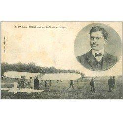 carte postale ancienne 81 ALBI. Aviateur Gibert sort du Hangar sur son Blériot. Aviation et Aéroplane