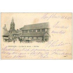 carte postale ancienne 14 HONFLEUR. Eglise Sainte-Catherine et Marché 1901